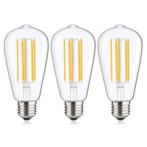 Luxvista Lampadina E27 15W LED Filamento Edison Vite Luce Bianco Fredda 6000K ST64 Vintage Equivalenti 130W Incandescente Lampada a Gabbia Di Scoiattolo a LED Non Dimmerabile Per Pendenti (3-Pezzi)