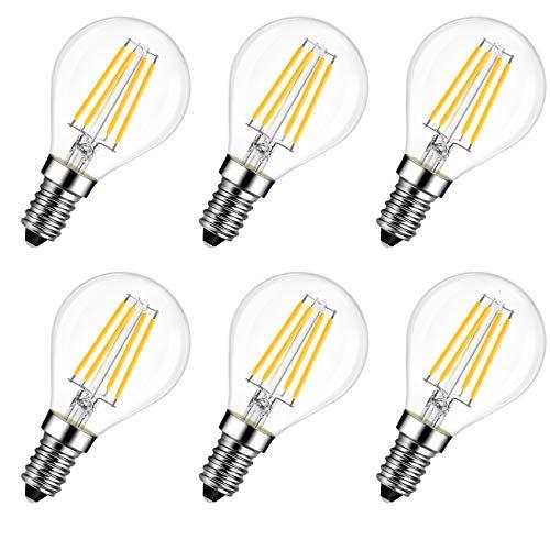 LVWIT Lampadina Filamento LED Attacco E14, G45, 6W Equivalenti a 60W, 806Lm, Luce Bianca Calda 2700K, Consumo Basso, Risparmio Energetico, Non dimmerabile - Pacco da 6