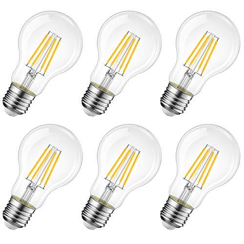 LVWIT Lampadina Filamento LED E27,6.5W Equivalenti a 60W,806Lm,2700K,Luce Bianca Calda,Forma A60 Stile Vintage,Risparmio Energetico,Consumo Basso,Non Dimmerabile,Confezione da 6 Pezzi