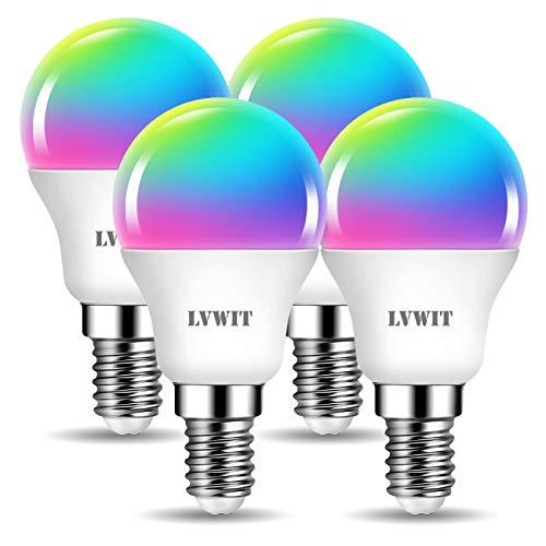 LVWIT Lampadina LED Smart Wifi Con Attacco E14,5W Equivalenti a 40W,470Lm,Compatibile con Alexa, Echo and Google Assistant,RGB Intelligente Dimmerabile,Controllo a Distanza da App,Pacco da 4 Pezzi