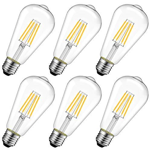 LVWIT Lampadine Filamento LED Attacco E27,6.5W Equivalenti a 60W,806LM,2700K,Luce Bianca Calda,Forma ST64 Edison Vintage retrò,Consumo Basso,Risparmio Energetico,Non dimmerabile,Confezione da 6 Pezzi