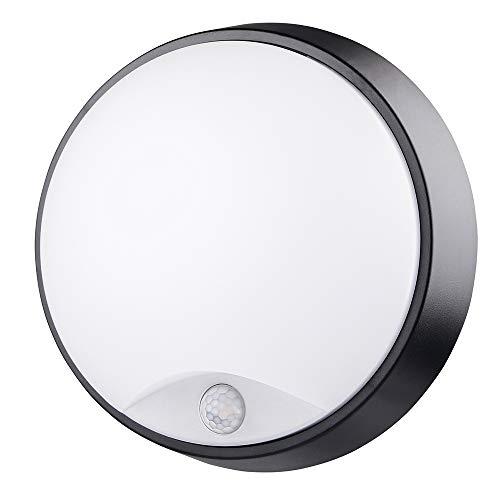 M EGA MEGACUBE Lampada da Parete LED Plafoniera Soffitto Moderna Impermeabile Rotonda con Sensore di Movimento PIR 10W 4000K IP54 Illuminazione Per Esterni e Interni