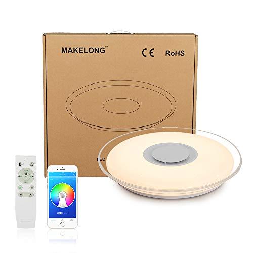 MAKELONG Plafoniere a LED Con Altoparlante Bluetooth, 36W 450mm 3000lm, APP per Smartphone e Telecomando, Regolazione Luminosità e Colori, 3000-6500K + RGB Lampadario, Modalità luce notturna