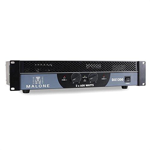 Malone DX1200 amplificatore PA (2 x 600 Watt a 4 Ohm e 2 x 400 Watt a 8 Ohm, ingressi RCA e jack di 6,3 mm per collegare dispositivi esterni, adatto per il montaggio rack a 48 cm) - nero