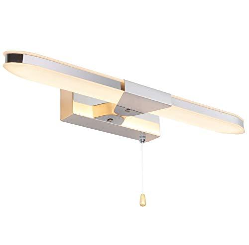 MantoLite LED Lampade da Parete,Camera da Letto Illuminazione per Interni Specchio da Bagno Illuminazioni Con Cerniera Interruttore Pareti Lampade da Comodino Luci da Lettura, 40CM 8W 3000K Cromata