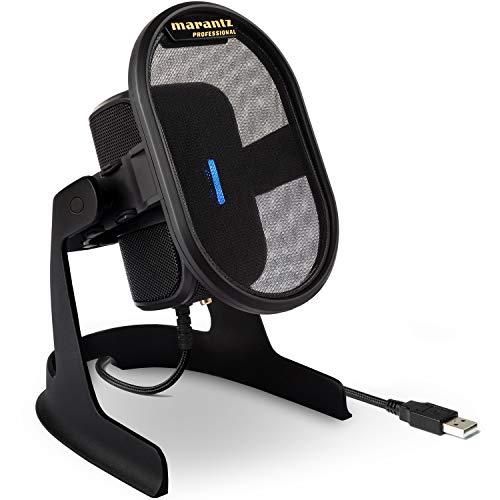 Marantz Professional Umpire – Microfono USB per Cattura Audio, YouTube, Streaming, Podcast e PC Gaming; Schermo Antipop, Sospensione Elastica