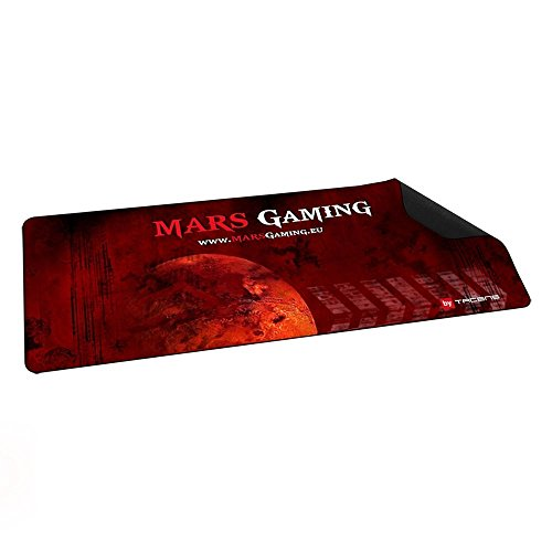 Mars Gaming MMP2, tappetino Gaming, Base in gomma naturale, 88x33cm, Nero/Rosso