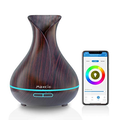 Maxcio Diffusore di Aromi WiFi, 400ML Diffusore Intelligente di Oli Essenziali Compatibile con Alexa/Google Home, Funzione Timer, Profumatore Ambiente con APP Controllo, 7 Colori LED Regolabile, Nero
