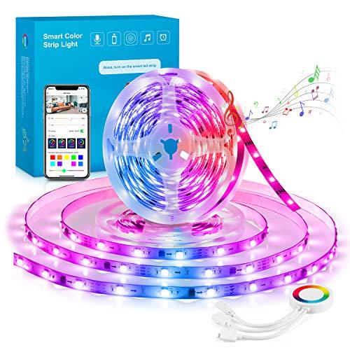 Maxcio Striscia LED Dreamcolor WiFi, Smart LED Striscia 5M RGB Compatibile con Google Home e Echo, Strip LED RGB WIFi Con Funzione Timer, 8 Modalità Scena, Perfetto per Camera da Letto,Cucina e Feste