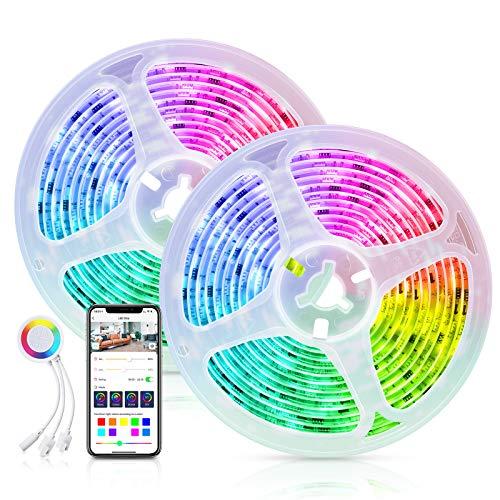 Maxcio WiFi LED Striscia Dreamcolor Controllata da APP Smart Life, Smart 10M(2 * 5m) Striscia LED RGB 5050 con Condivisione, DIY Scena, Striscia di Luci WIFi con Modalità Musica per Decorazione e Bar
