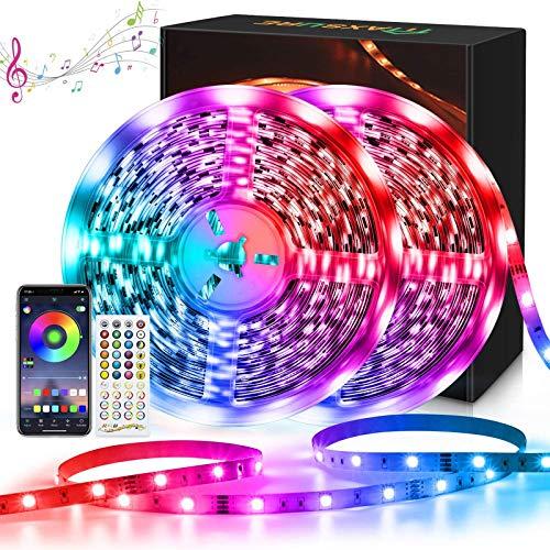 Maxsure Strisce LED, 10Mx2 Bluetooth, RGB 5050, LED Striscia, LED 20 Metri, Telecomando, Tagliabile, Funzione di Memoria, Sincronizzazione con Musica, Soggiorno, Camera, Feste, Non Impermeabili