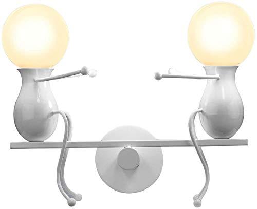MC Creativo Lampade da Parete Applique da Parete Moderna Decor Metal Lampada da Parete Altalena Lampade da Parete per Bar, Camera da Letto, Ristorante, Nero E27 (Bianco)