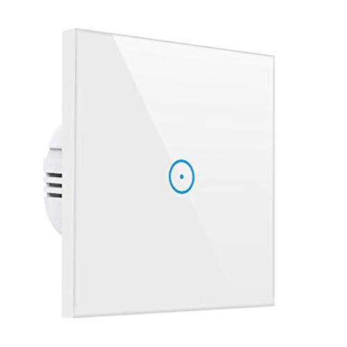 Meamor - Interruttore della luce Smart Alexa, WiFi senza fili, touch a parete, nessun hub necessario, compatibile con Alexa/Google Assistant/smartphone (1 velocità)