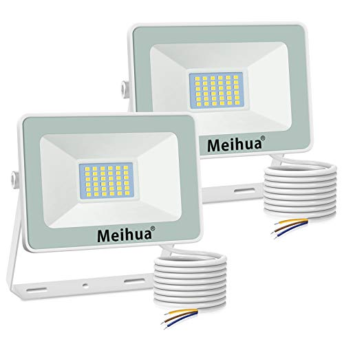 MEIHUA 2 Pezzi Faretto a LED per esterno 25W, super luminoso, impermeabile IP66, bianco freddo 6500K, resistente per giardino, cancello, parcheggio, balcone