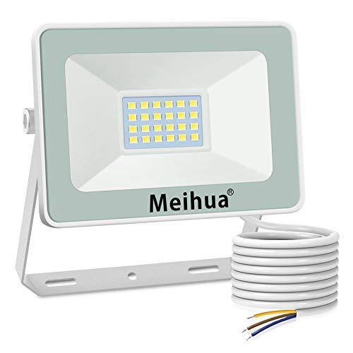 MEIHUA Faretto a LED per esterno 15W, super luminoso, impermeabile IP66, bianco freddo 6500K, resistente per giardino, cancello, parcheggio, balcone