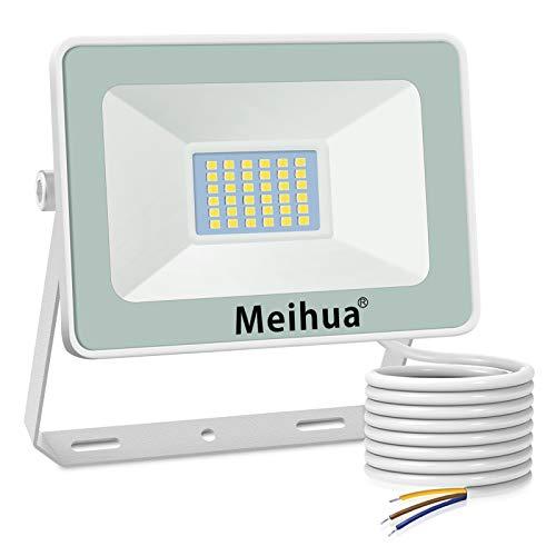 MEIHUA Faretto a LED per esterno 25W, super luminoso, impermeabile IP66, bianco freddo 6500K, resistente per giardino, cancello, parcheggio, balcone