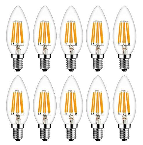 MENTA E14 Lampadina Filamento LED Candela fiamma 6W equivalente a 60W, Luce Bianca Calda 2700K, 600lm, Piccole lampadine a vite Edison (SES), C35 a Forma di Fiamma Non dimmerabile, Vetro, 10 Pezzi