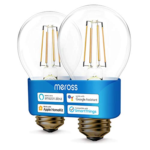 meross Lampadina Intelligente Wifi LED Dimmerabile E27 A19 Vintage Edison, Smart Light Compatibile con HomeKit, SmartThings, Amazon Alexa, Google Assistant, 6w Equivalente 60W, 2 Pezzi