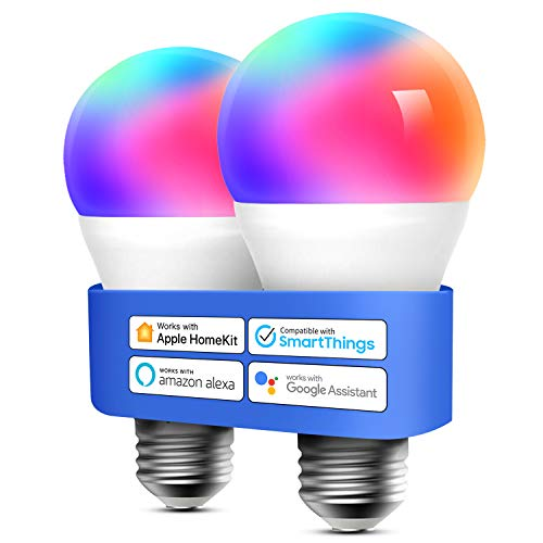 meross Lampadina Wifi Intelligente LED Dimmerabile Multicolore E27 9W Smart Light RGBCW Compatibile con Homekit, SmartThings, Amazon Alexa, Google Home, IFTTT, 2 pezzi
