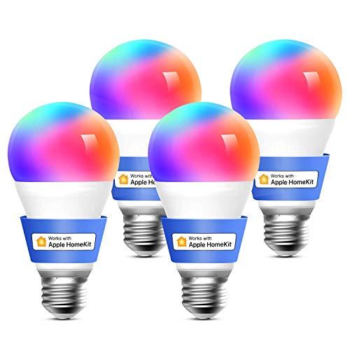 meross Lampadina Wifi Intelligente LED Dimmerabile Multicolore E27 9W Smart Light RGBCW Compatibile con Homekit, SmartThings, Amazon Alexa, Google Home, IFTTT, 4 pezzi