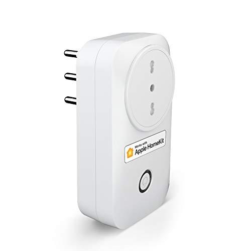meross Presa Intelligente Italiana Smart Plug, Spina WiFi, Compatibile con HomeKit Siri, Alexa, Google Assistant e SmartThings, Nessun Hub Richiesto (1)