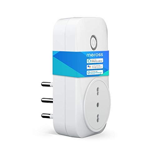 meross Presa Intelligente Wifi Italiana Smart Plug Spina Energy Monitor 16A 3680W, Funzione Timer Compatibile con SmartThings, Amazon Alexa, Google Assistant e IFTTT, APP Controllo Remoto