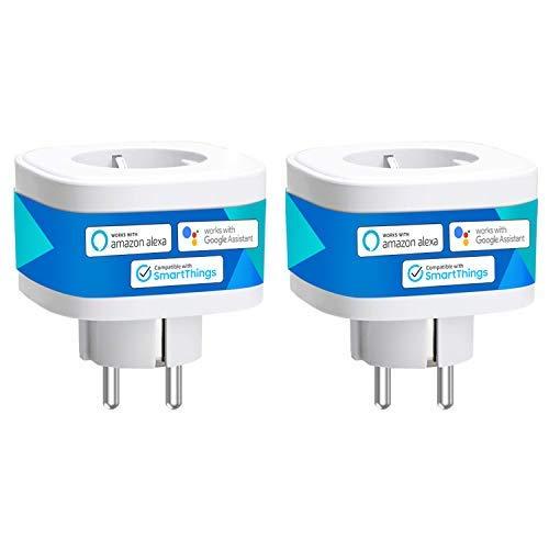 meross Presa Intelligente Wifi Smart Plug Spina Wireless 16A 3680W, Funzione Timer, Compatibile con SmartThings, Alexa, Google Assistant e IFTTT, Controllo Remoto via Andriod iOS App, 2pcs