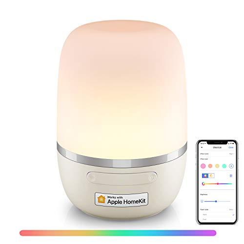 meross Smart Lampada da Comodino a LED Intelligente, Compatibile con HomeKit, Alexa, Google e SmartThings, Luce Notturna Bambini Dimmerabile, per Camera da Letto, Soggiorno, con Cavo USB