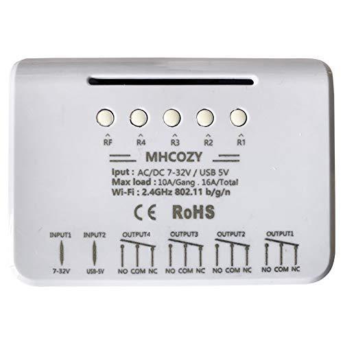 MHCOZY Wifi Relè Módulo funziona con Alexa/Google Home, interruttore WiFi DC 12V per dispositivo domestico intelligente fai-da-te, automatizza la tenda del garage (eWelink app, 4CH)