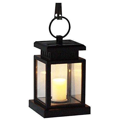MIANBAOSHU - LED solare, lanterna romantica, colore bianco, con luce tremolante da candela, da giardino, terrazzo, per vialetto, decorazione, balcone, piscina, laghetto, scale