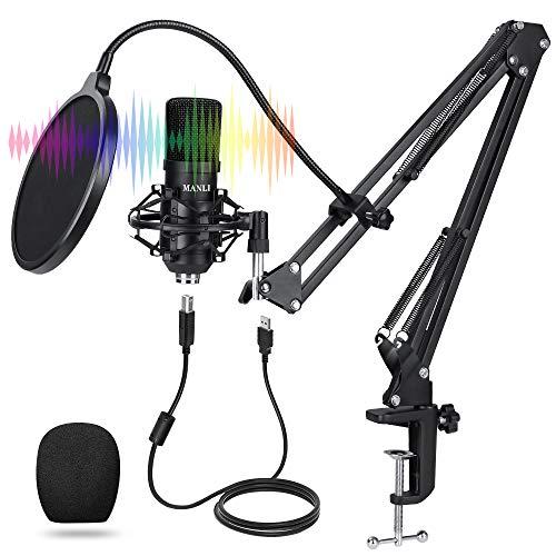 Microfono USB Professionale, MANLI Microfono a Condensatore Universale HD 24bit/192kHz per PC Gaming Podcast Doppiaggio Registrazione Canzoni Youtube Microfono da Tavolo Windows Mac PS4 PS5