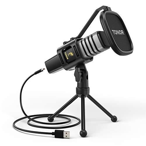 Microfono USB, TONOR Condensatore Computer PC Mic con Supporto per Treppiede, Filtro Pop, Supporto Shock per Gaming, Streaming, Podcasting, YouTube, Voice Over, Skype, Twitch, Discordia, TC30