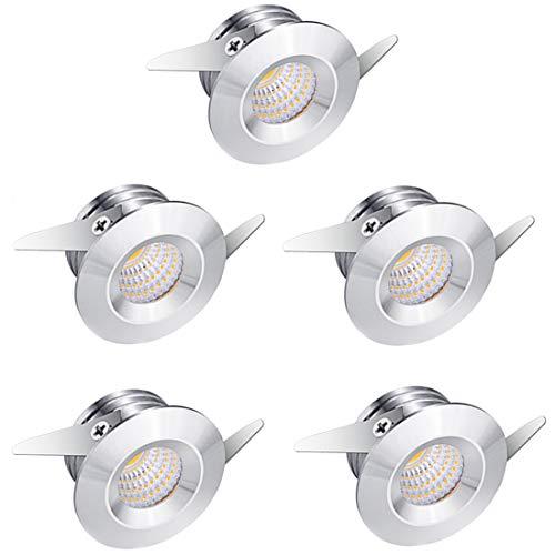 Midore, 5 mini faretti da incasso a LED in alluminio con luce bianca calda da 3 W