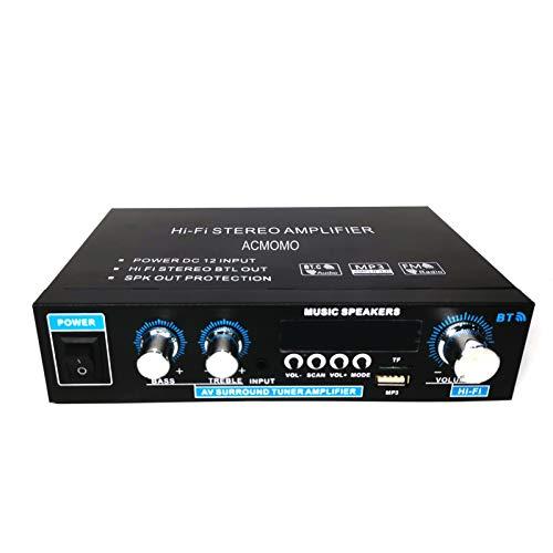Mini 400W Amplificatore, HiFi Audio Stereo BT Radio Portatile per Auto o Casa, con Telecomando ed Mini Display 2CH LCD, 12 V / 220 V…