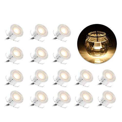 Mini Faretti Incasso,Tomshine 16PCS 0.6W LED da Incasso LED Soffitto Faretti da Incasso Resistenza all'acqua IP67 per Giardino Patio Scala
