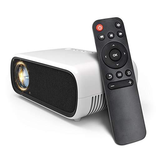 Mini proiettore LED, videoproiettore LCD portatile con 1080P, proiettore multimediale home theater piccolo supportato HDMI, USB, AV, DVD, VGA, laptop con telecomando
