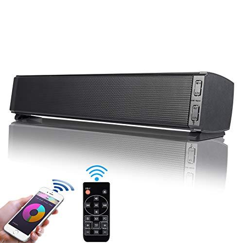 Mini Soundbar Bluetooth 5.0 Wireless 16'' con Fityou Altoparlante Microfono Incorporato da 20 W, Altoparlanti per Computer Alimentati Tramite USB per TV/PC/Laptop con Telecomando, Nero