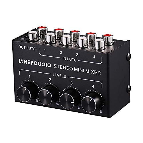 Mini Stereo RCA 4 canali Mixer passivo Lossless Passivo per Live & Studio