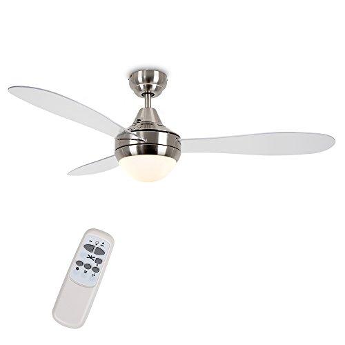 MiniSun - Ventilatore da soffitto moderno con luce, Denver' - di grandi dimensioni (122cm) - con 3 pale trasparenti, finitura cromata spazzolata ed un telecomando pratico