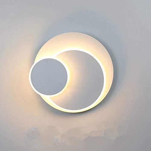 Moderna Creativo Applique da Parete, eclissi 3 in 1 solida protezione lampada da parete, 350° girevole applique bianco, 15W 3000K Bianco caldo per interno scale soggiorno camera letto