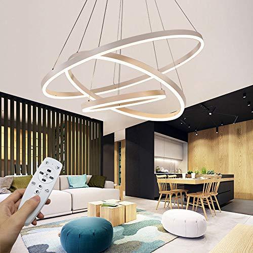 Moderna lampada a sospensione a LED, 3 anelli collezione di vernice bianca, applique a sospensione a luce regolabile Lampadario a soffitto moderno, dimmerabile 2700K - 6500K, con telecomando - 78W