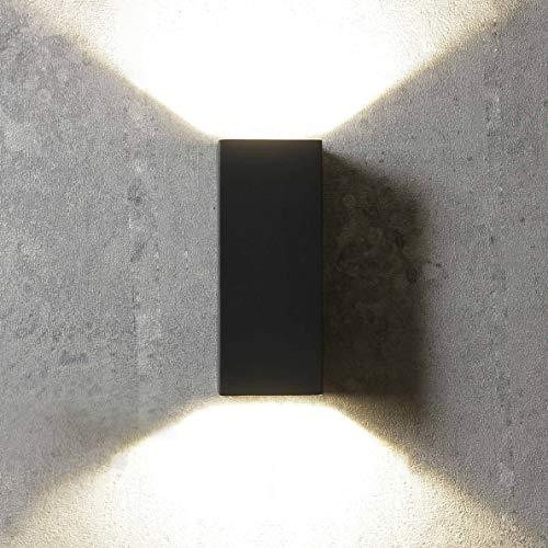 Moderna lampada da esterno Up Down IP44, 16 cm di altezza, in acciaio inox e vetro, lampada da parete a LED per balcone, terrazza, facciata, cortile