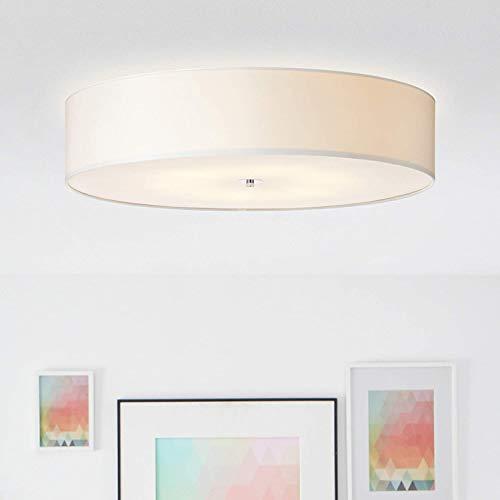 Moderna lampada da soffitto dal design semplice con paralume in tessuto, Ø 70 cm, 6 x E27 max. 60 Watt in metallo/tessuto, bianco/cromato