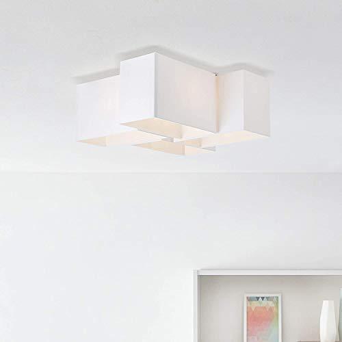 Moderna lampada da soffitto in tessuto, 4 lampadine E14, max. 60 Watt, in metallo/tessuto, in bianco/nero