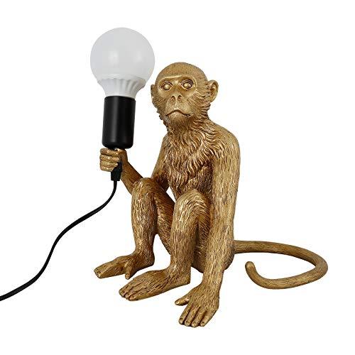 Moderna lampada da tavolo a LED in resina con scimmia seduta in oro, per caffetterie, camerette dei bambini, camera da letto (40 W, E27)