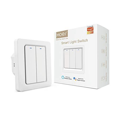 MOES Interruttore della luce a parete con pulsante intelligente Tuya Zigbee,1 Way,nessun cavo neutro richiesto e Zigbee Gateway Hub richiesti,Compatibile con Smart Life/Tuya,Alexa/Google Home,2 Gang