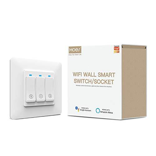 Moes Interruttore per tende a pulsante WiFi intelligente Tuya Smart Life App Telecomando compatibile con tende a rullo motorizzate per tende, funziona con Alexa e Google Home