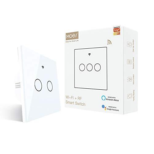 MOES WiFi Inteligente Toccare Interruttore a muro con 1/2 Way, stato relè opzionale, neutro richiesto, compatibile con app Smart Life/Tuya, telecomando RF433, Alexa e Google Home Bianca, 2 Gang
