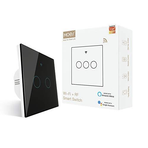 MOES WiFi Inteligente Toccare Interruttore a muro con 1/2 Way, stato relè opzionale, neutro richiesto, compatibile con app Smart Life/Tuya, telecomando RF433, Alexa e Google Home Nero, 2 Gang