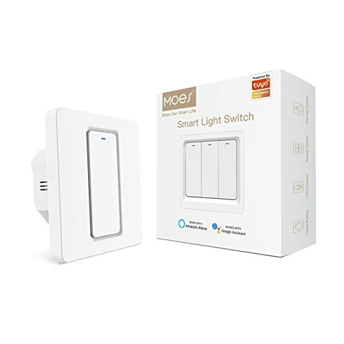 MOES WiFi Smart Light Switch Button Smart Life/Tuya APP Remote Control Funziona con Alexa Google Home per il controllo vocale (1 Gang Smart Switch)